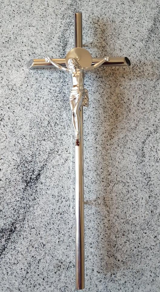 krzyż nierdzewny gruby z wizerunkiem